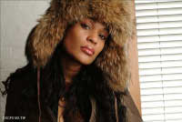 Beverly Bond in fur hat